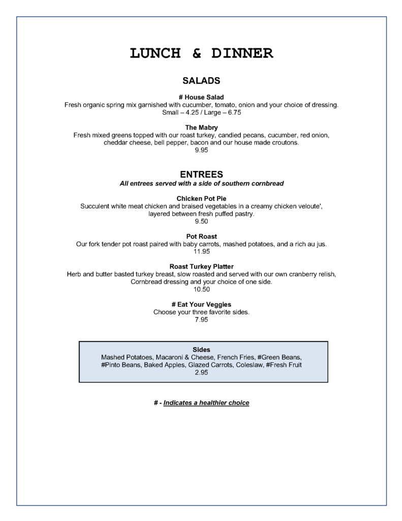 Mabry Mill Lunch and Dinner Menu 2020